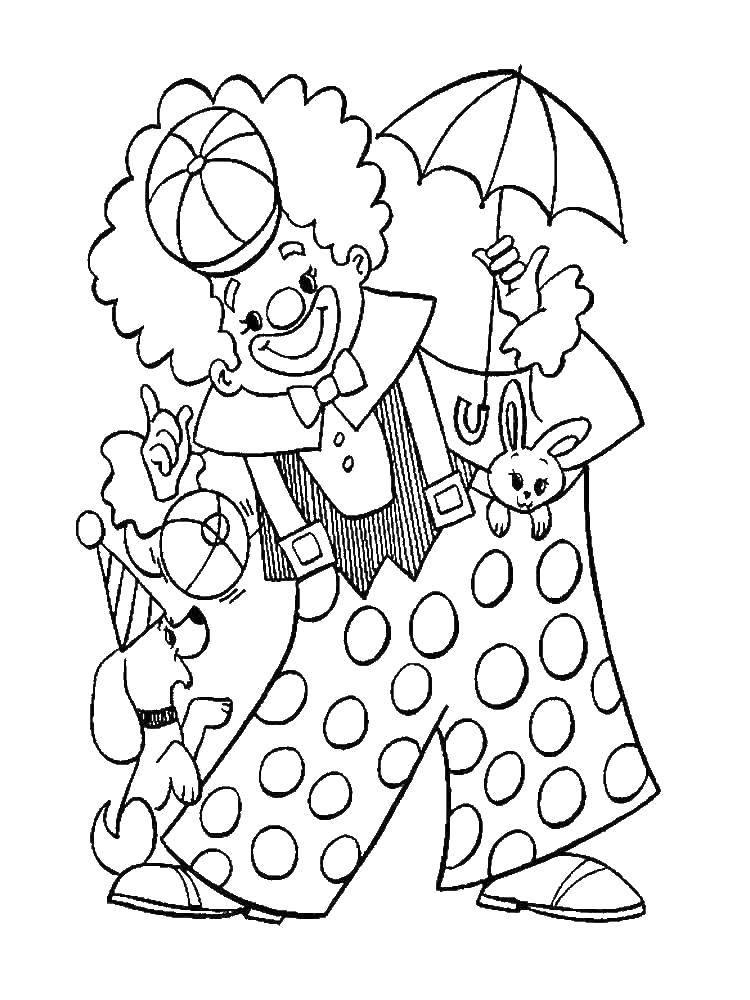 Раскраска Клоун с собачкой Скачать Клоун, цирк, радость, веселье.  Распечатать ,Клоуны,