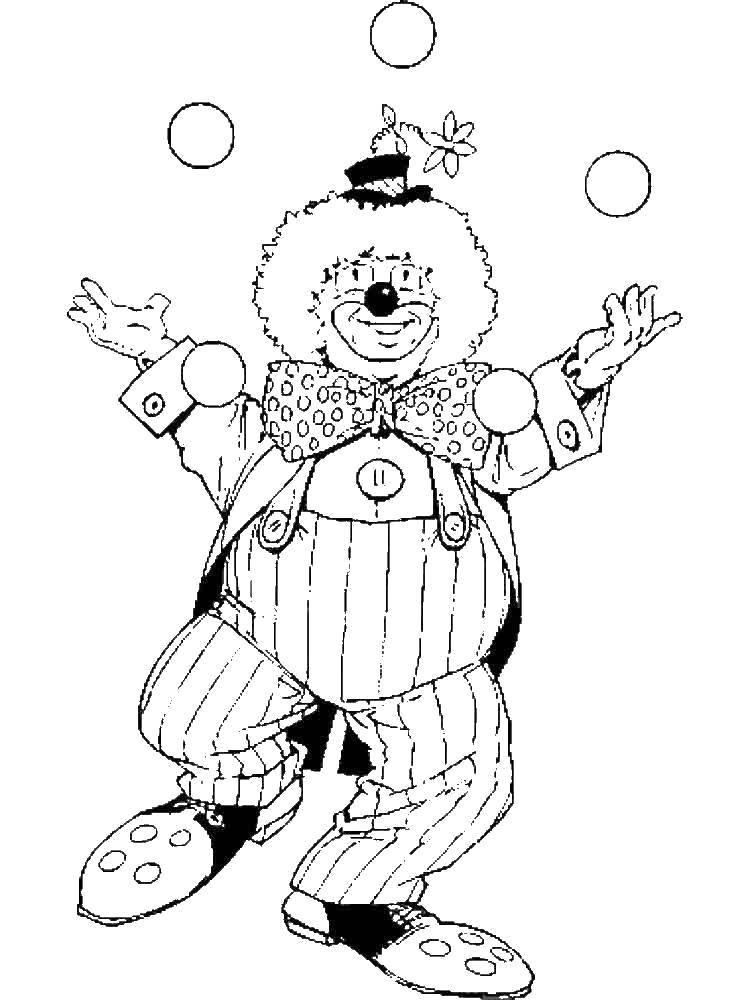 Раскраска Клоун жонглирует шариками Скачать Клоун, цирк, радость, веселье, шарики.  Распечатать ,Клоуны,