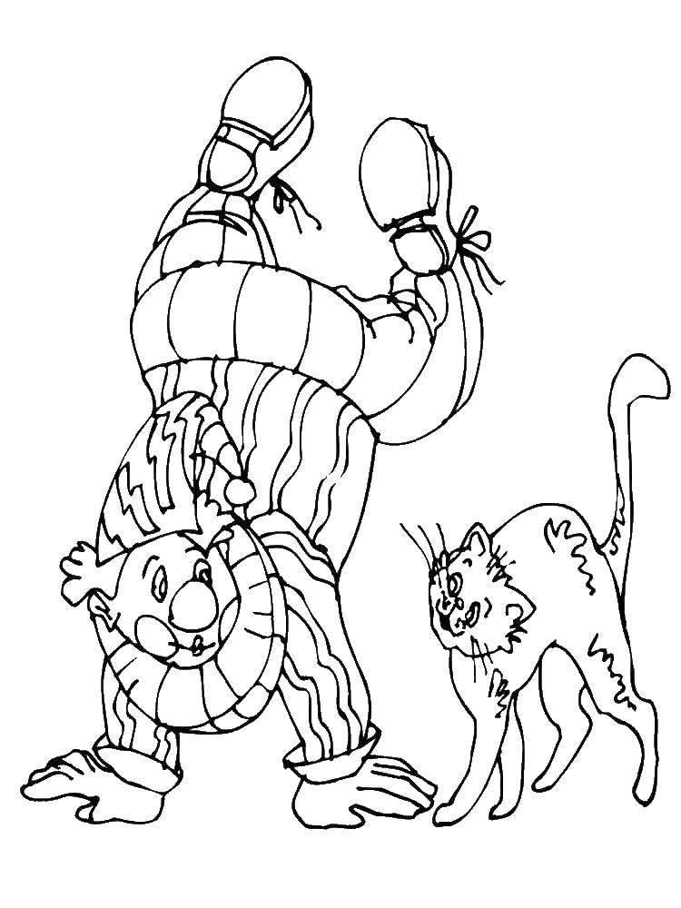Раскраска Цирковые трюки Скачать Клоун, цирк, радость, веселье.  Распечатать ,Клоуны,
