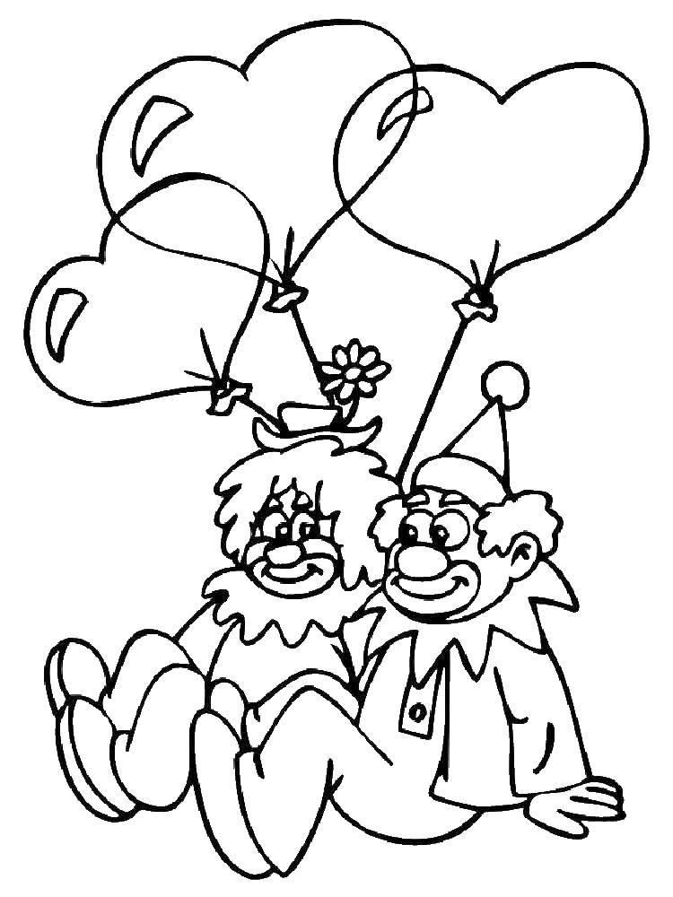 Раскраска Влюблённые клоуны Скачать Клоун, цирк, радость, веселье.  Распечатать ,Клоуны,