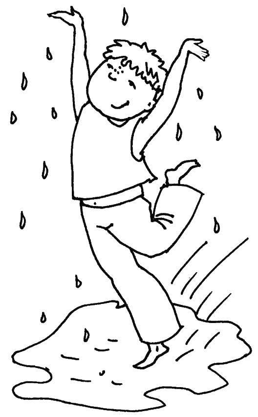 Раскраска Радость дождю Скачать Дождь, дети, радость, радуга.  Распечатать ,дождь,