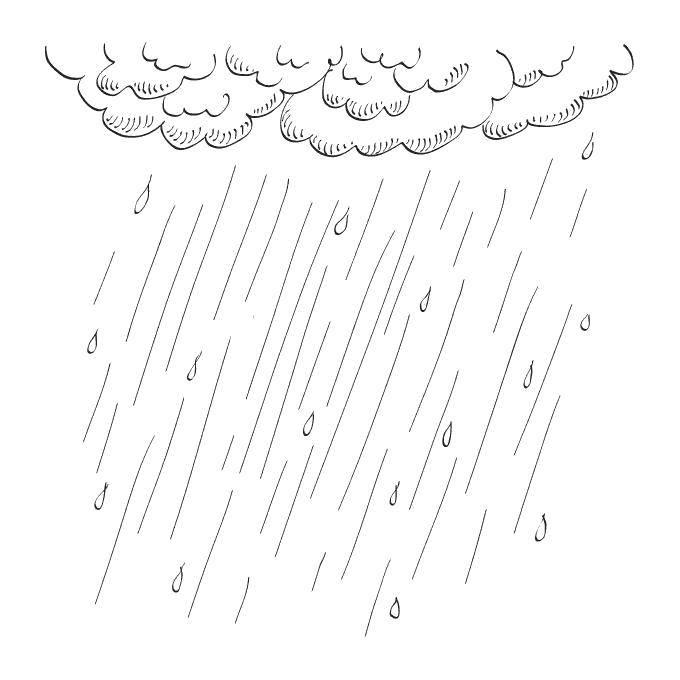 Раскраска дождь Скачать ,Дождь, тучи,.  Распечатать