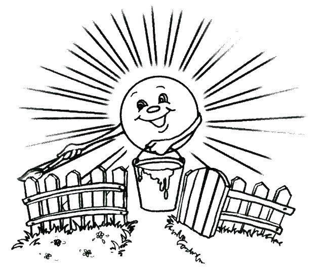 Раскраска Солнце Скачать ,Солнце, лучи, радость,.  Распечатать