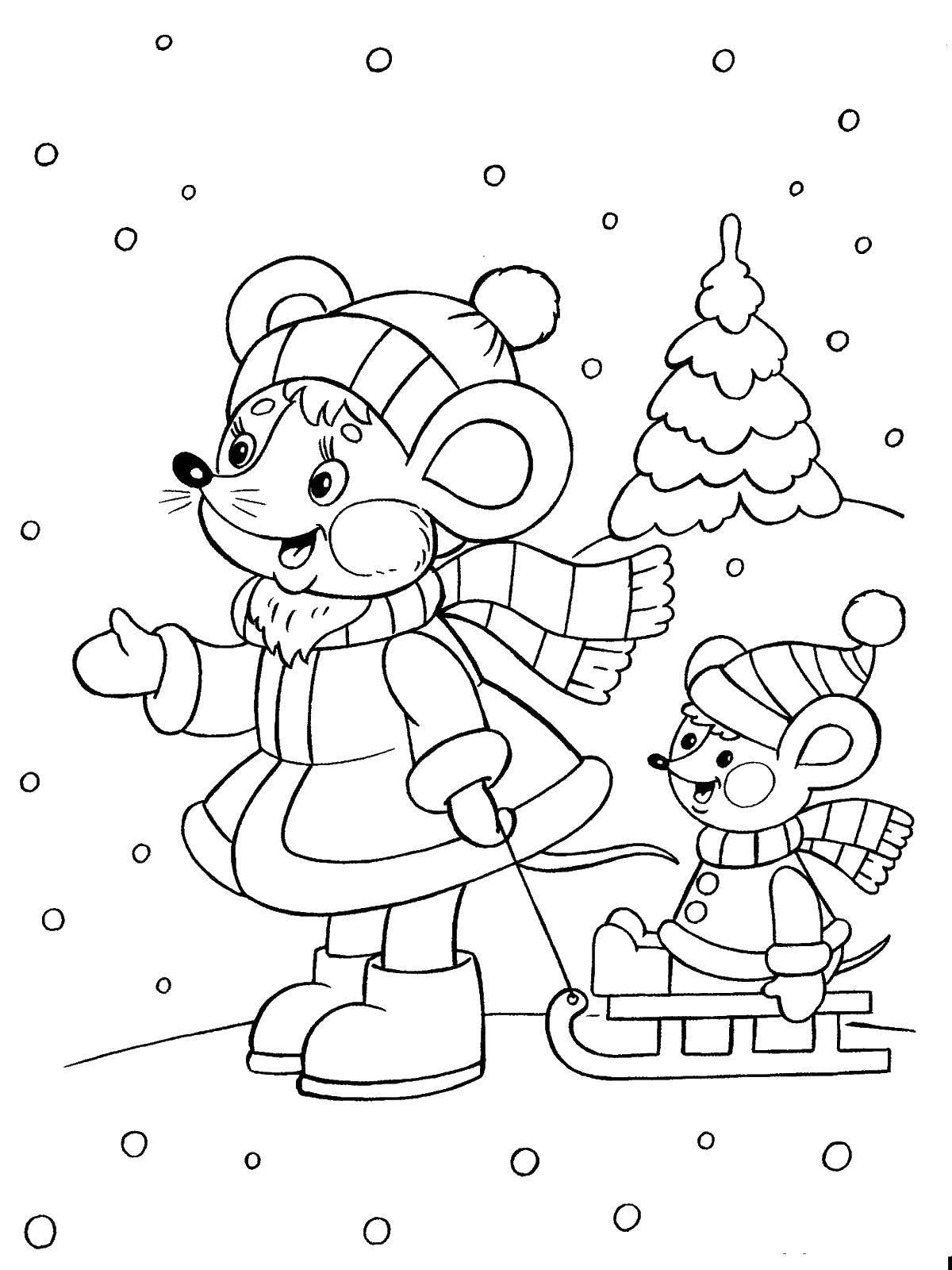 Раскраска Мышка везет детеныша на санках Скачать санки, мышка.  Распечатать ,зима,