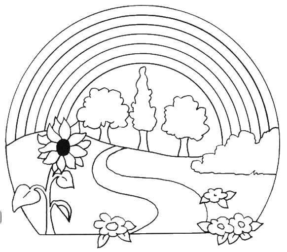 Раскраска Природа Скачать ,природа, деревья, цветы, радуга,.  Распечатать