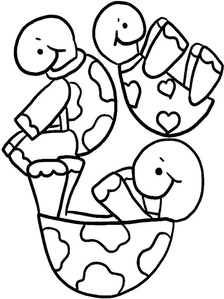 Раскраска черепаха Скачать Цифры, счёт, числа.  Распечатать ,Учимся считать,