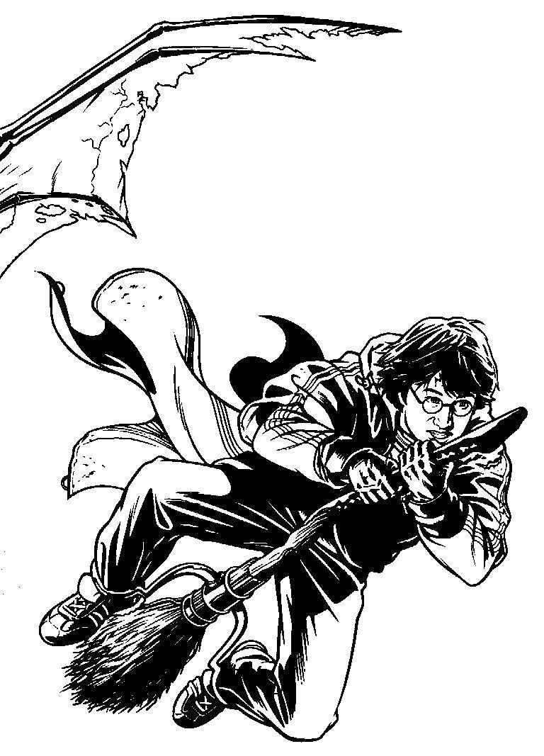 Раскраска Гарри поттер на метле Скачать Гарри Поттер, мультфильм.  Распечатать ,гарри поттер,