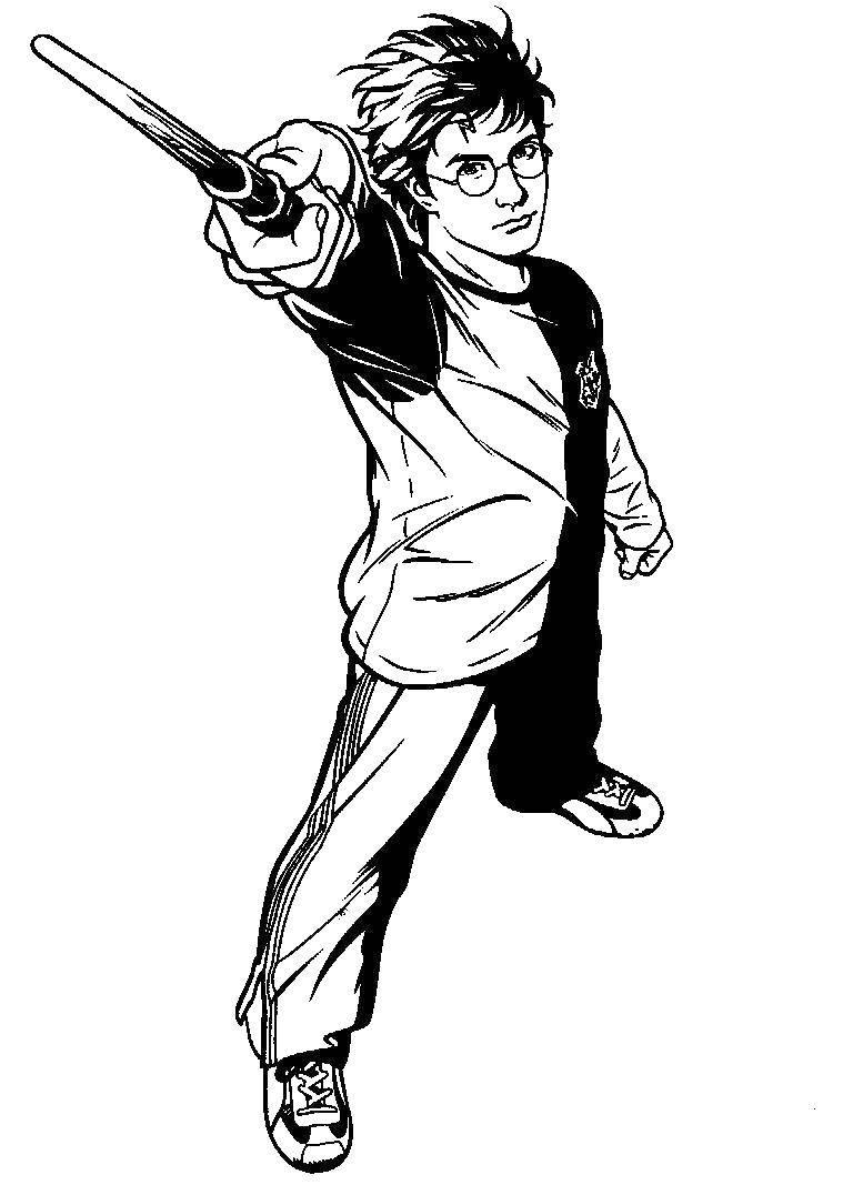 Раскраска Гарри поттер с волшебной палочкой Скачать фильмы, Гарри Поттер, волшебство.  Распечатать ,гарри поттер,
