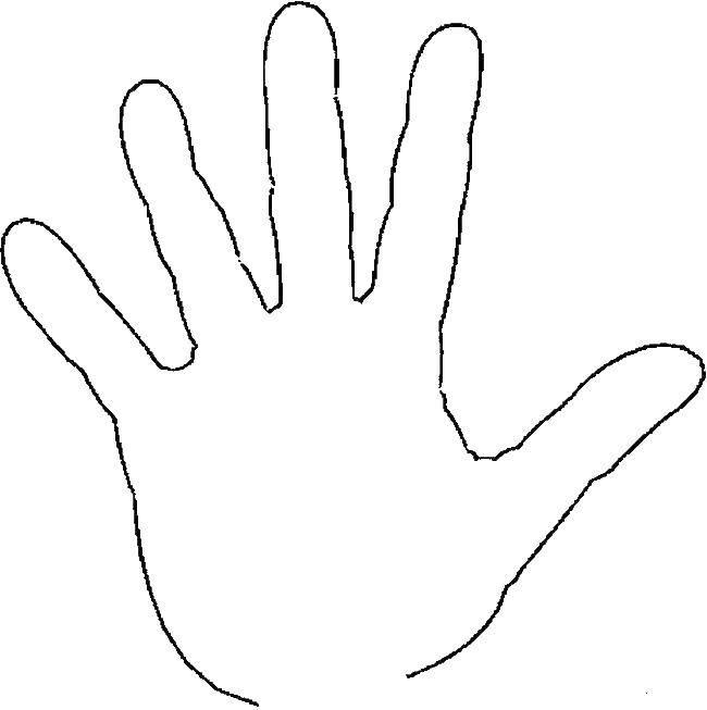 Раскраска Контур ладони Скачать руки, ладони, для вырезания.  Распечатать ,Контур руки и ладошки для вырезания,