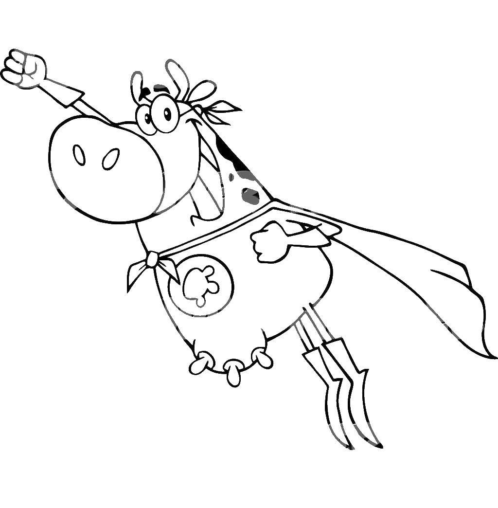 Coloring flying cow category animals tags animals cow