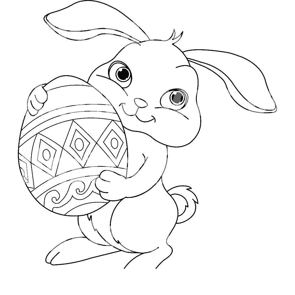 Раскраска Зайка с яйцом Скачать животные, заяц, яйцо.  Распечатать ,Животные,