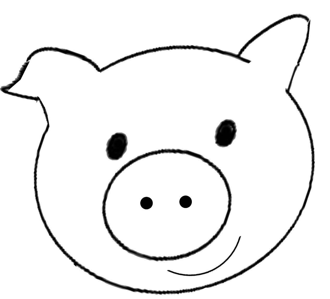 Раскраски Контур свиньи для вырезания, Раскраски на праздники.