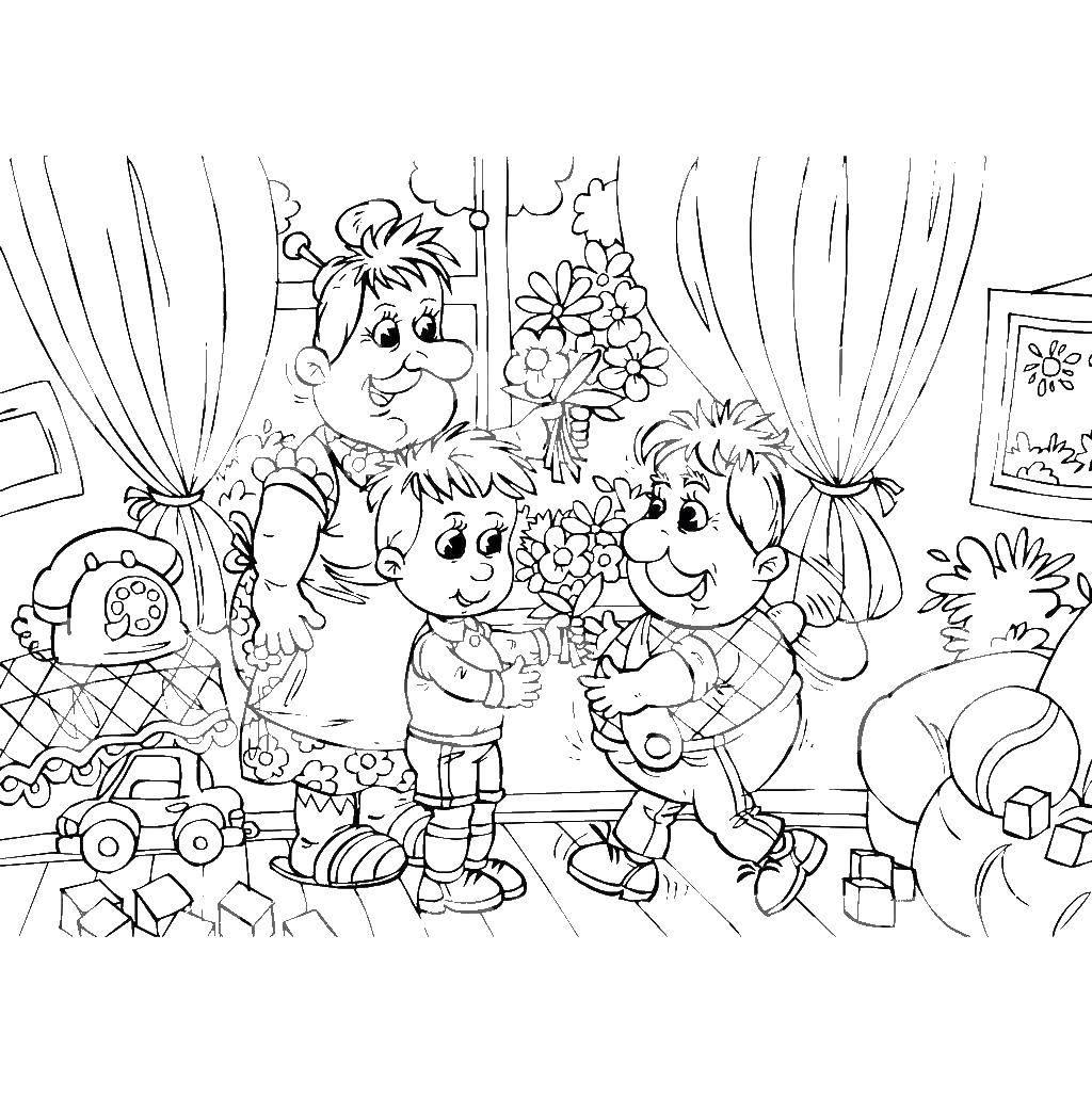 Раскраска Карлсон и малыш Скачать Карлсон, Малыш, мультфильмы.  Распечатать ,раскраски карлсон,