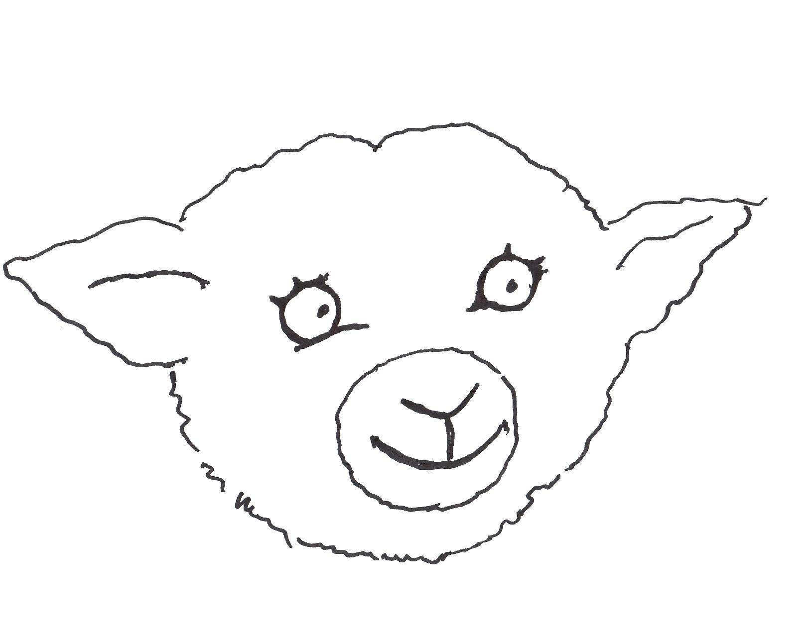 Раскраска Контур овечки для вырезания Скачать ,Комиксы,.  Распечатать