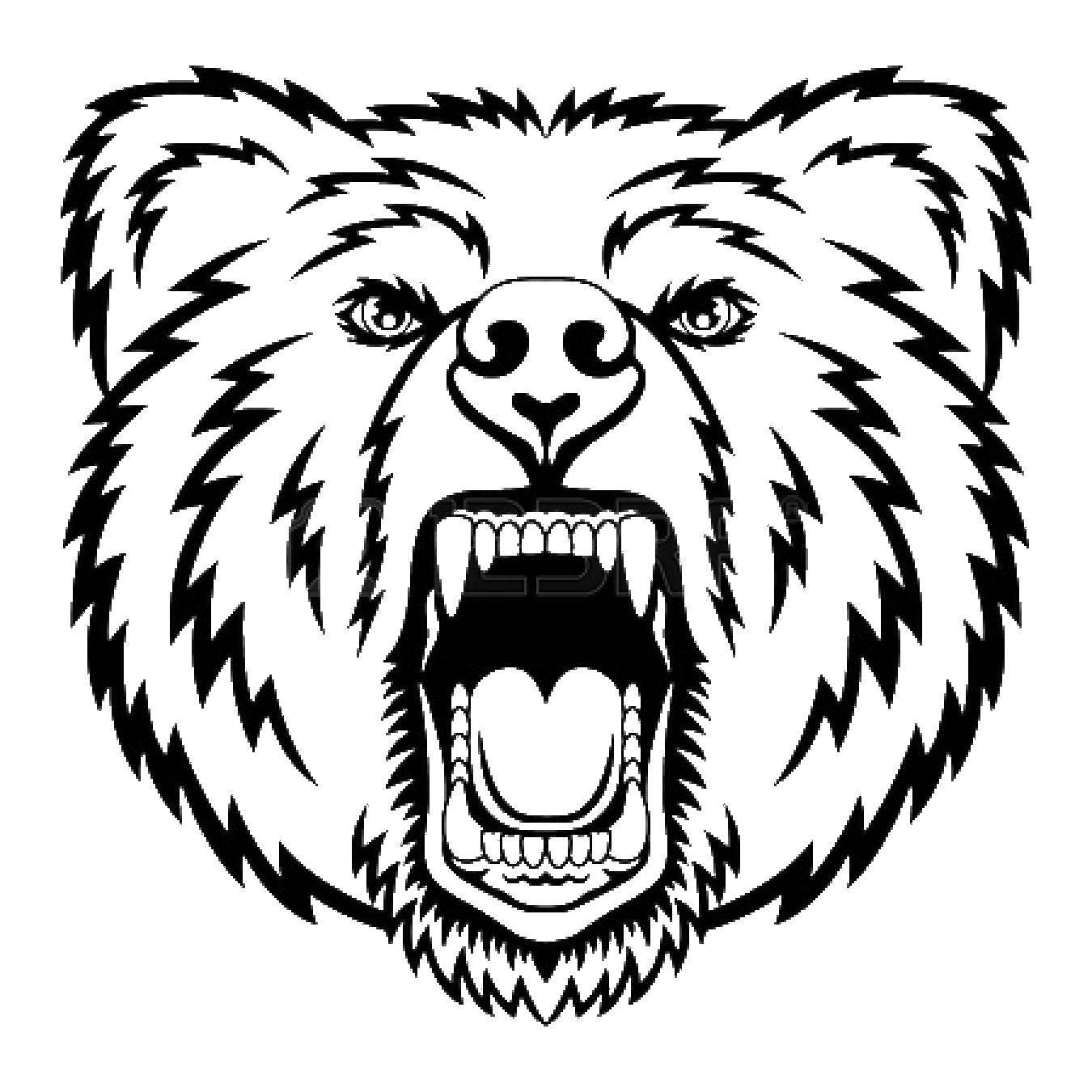 Название: Раскраска Грозный медведь. Категория: Контур медведя для вырезания. Теги: Животные, медведь.
