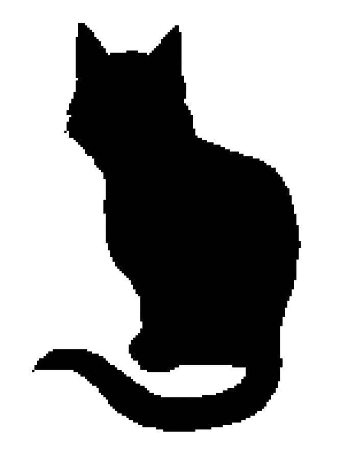Раскраска Контур кошки для вырезания Скачать ,Листья лопуха,.  Распечатать