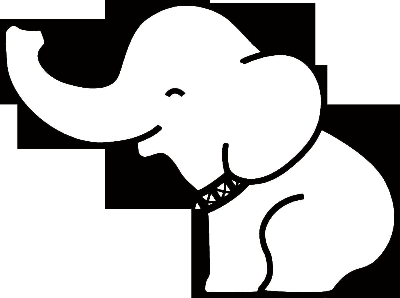 Раскраска Слоненок улыбается Скачать Животные, слоненок.  Распечатать ,контуры слона для вырезания,