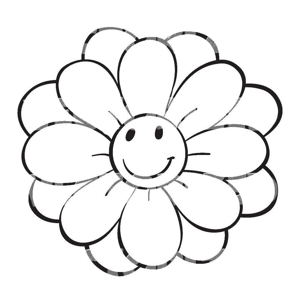 Раскраска Весёлый цветок Скачать Цветы.  Распечатать ,Раскраски для малышей,