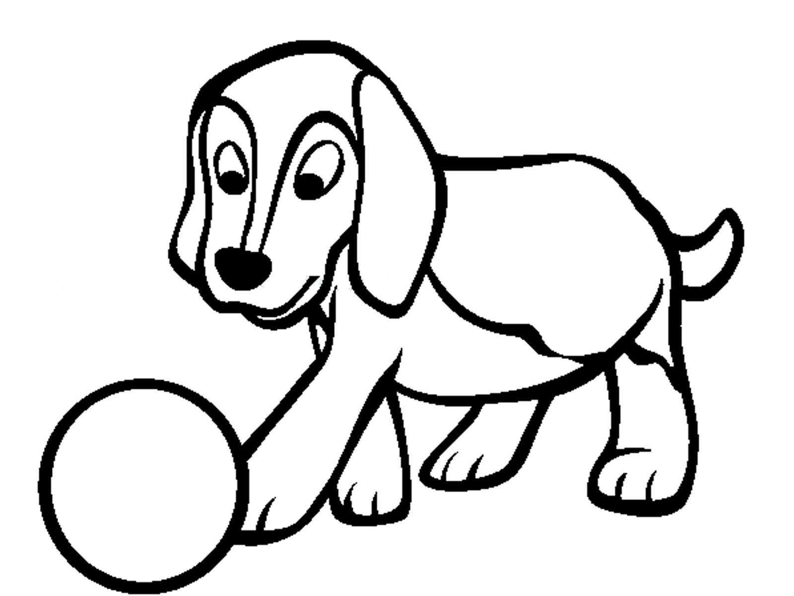Название: Раскраска Щенок с мячом. Категория: домашние животные. Теги: щенок, мяч.