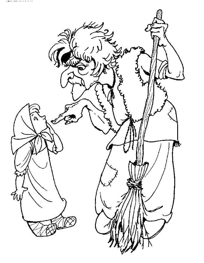 Раскраска Старуха и девочка. Скачать старуха, ведьма, метла, девочка.  Распечатать ,старуха,