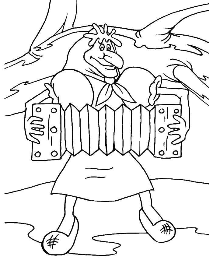 Раскраска Старуха с гармошкой. Скачать старуха, бабушка, гармошка.  Распечатать ,старуха,