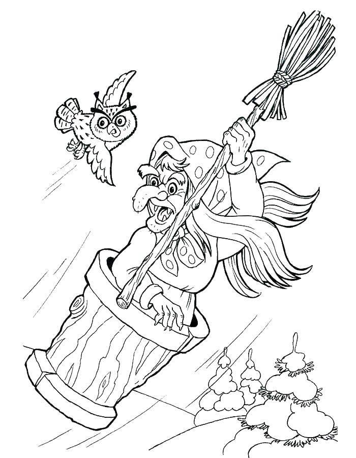 Раскраска Старуха ведьма. Скачать старуха, ведьма, метла.  Распечатать ,старуха,