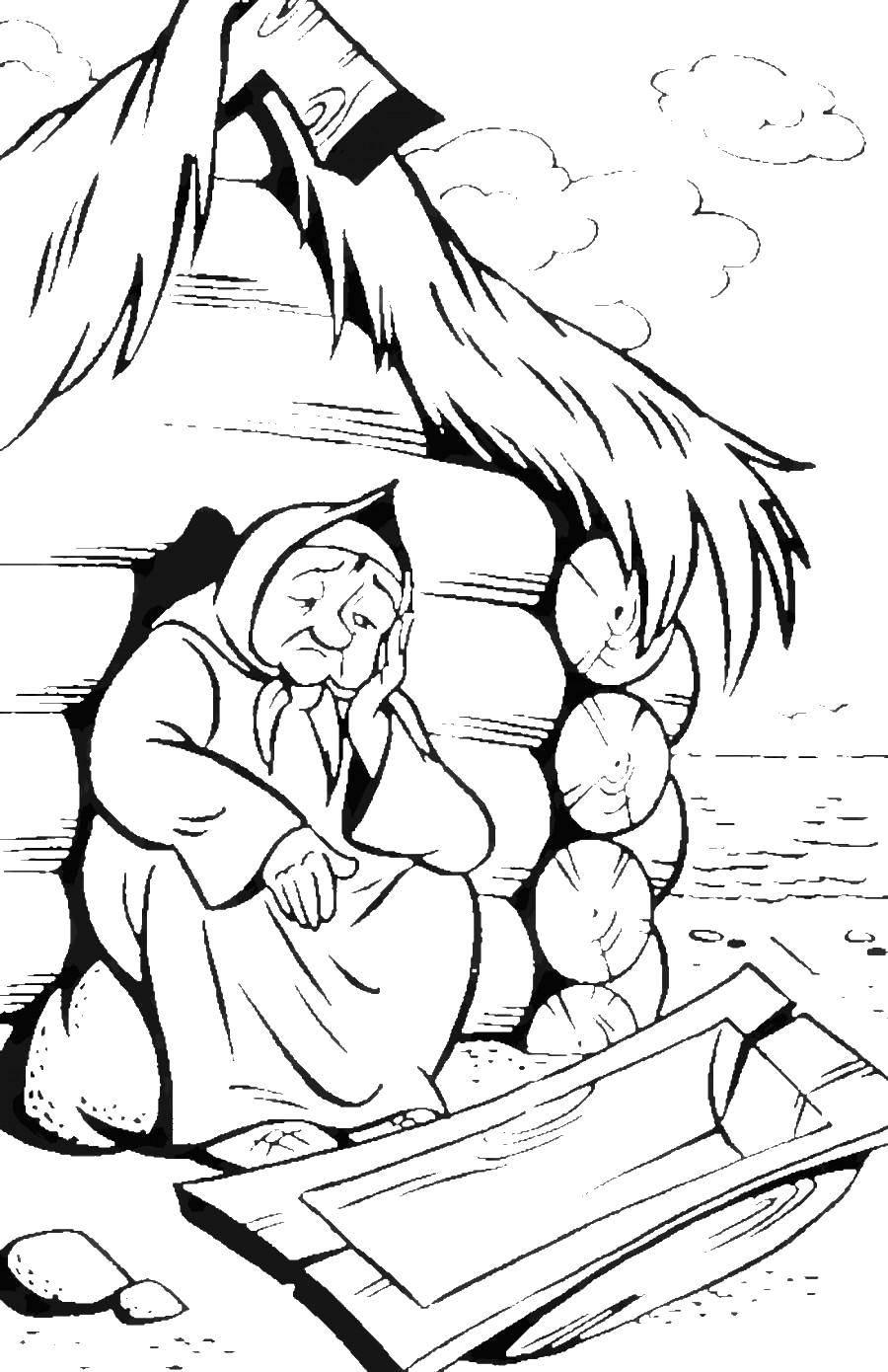 Раскраска старуха Скачать ,старушка, бабушка, рыбка, старуха,.  Распечатать