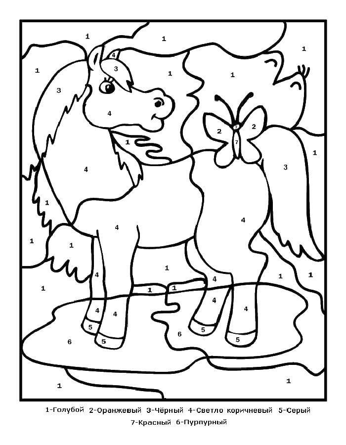 Раскраска Лашадь с бабоской Скачать лошадь.  Распечатать ,раскраски по номерам,