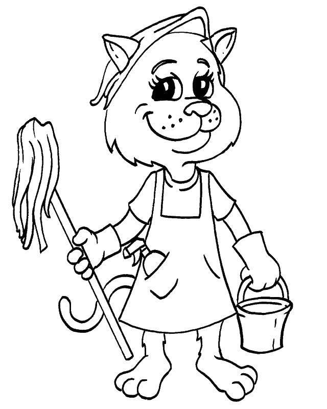 Раскраска Кошка уборщица Скачать ,Уборка,.  Распечатать