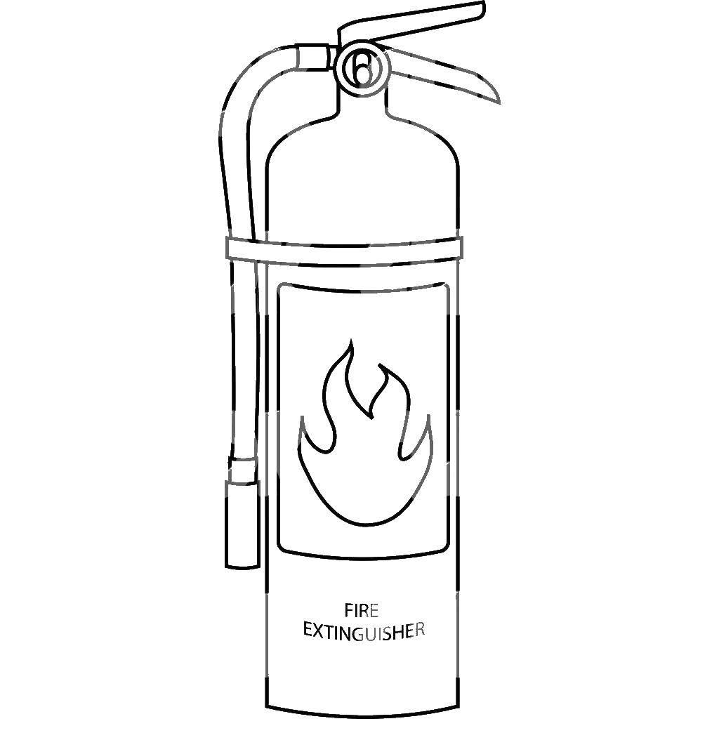 Раскраска Огнетушитель Скачать Пожар, огонь.  Распечатать ,Огонь,