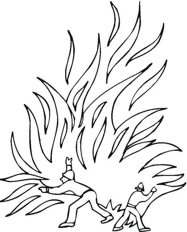 Раскраска Тушение пожара Скачать Пожар, огонь.  Распечатать ,Огонь,