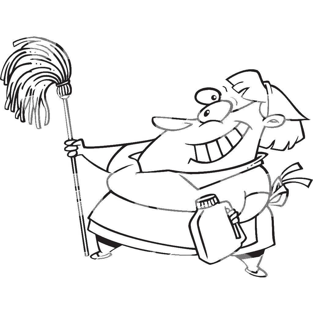 Раскраска Весёлая уборщица Скачать ,Уборка,.  Распечатать