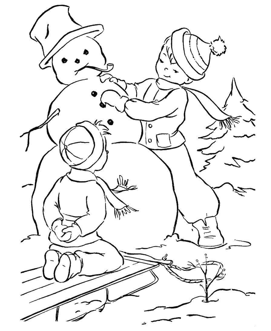 Раскраска зима Скачать ,примеры, картинка, математика, гномик,.  Распечатать