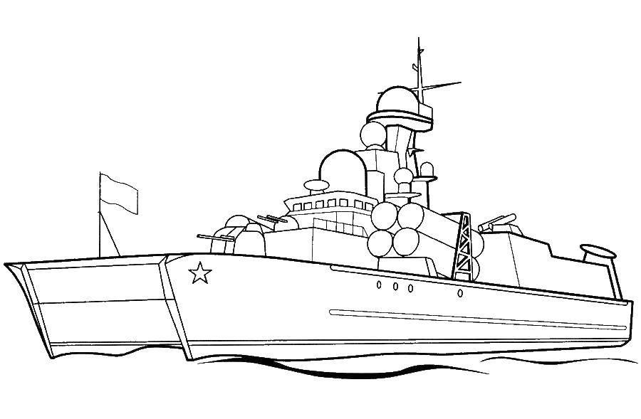 Раскраска корабли Скачать ,корабль, море, война,.  Распечатать