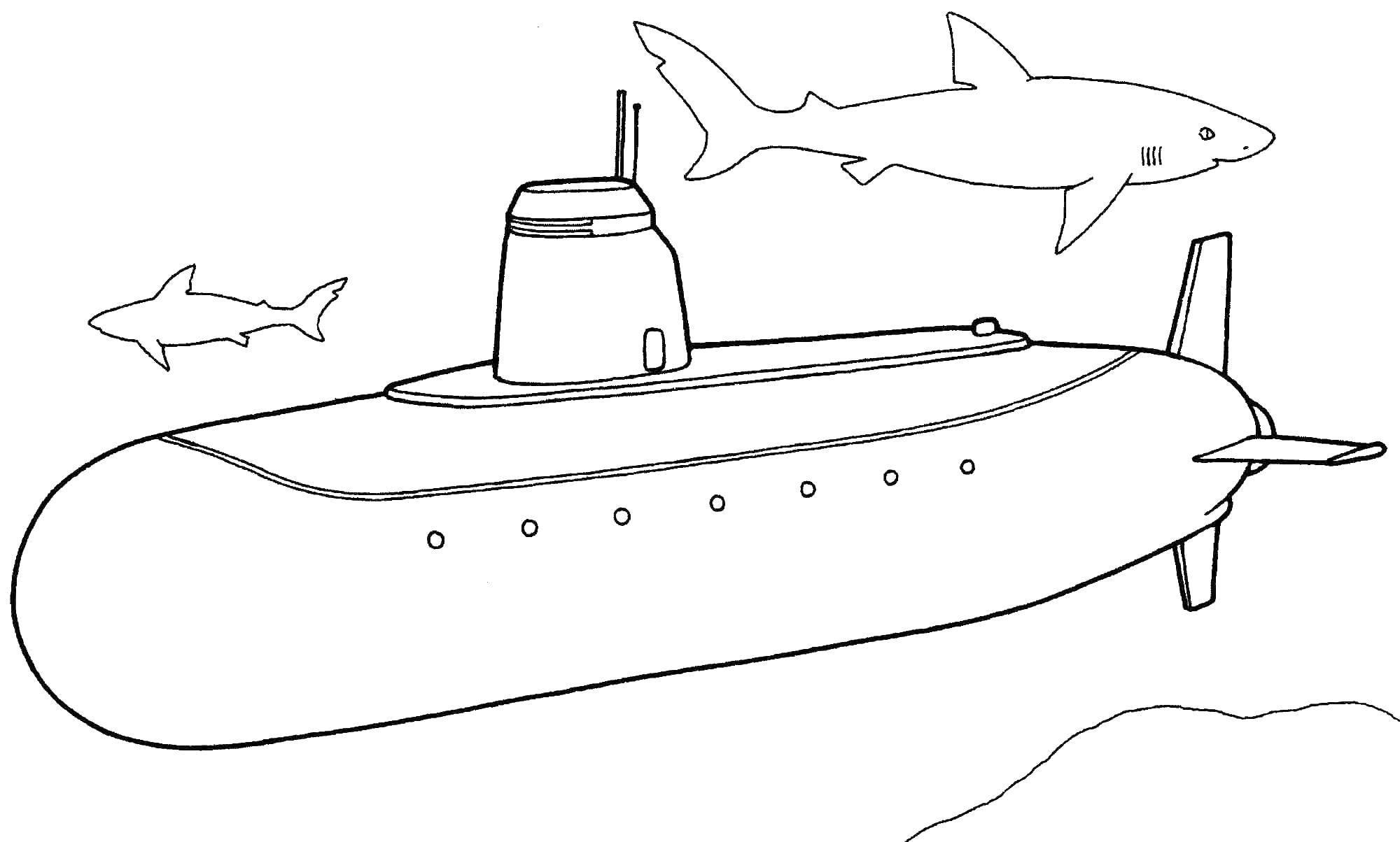 Раскраска подводная лодка Скачать ,подводная лодка, море, акулы,.  Распечатать