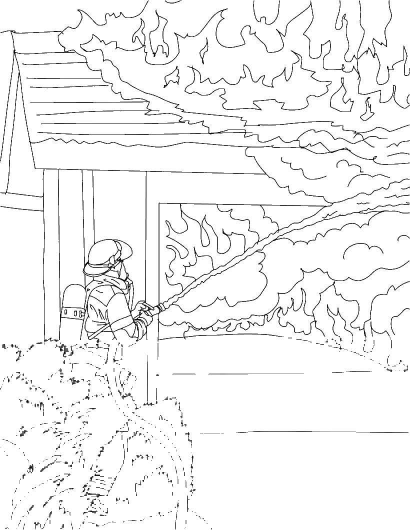 Раскраска Пожарный тушит пожар. дом горит Скачать пожар, пожарный, огонь.  Распечатать ,Огонь,