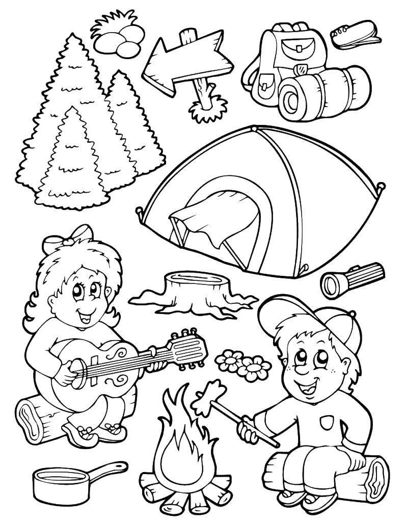 Раскраска Дети в походе Скачать отдых, природа, поход, палатка, костер.  Распечатать ,Отдых на природе,