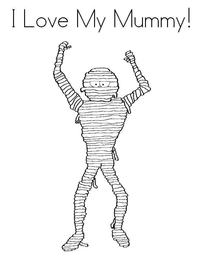 Раскраска Моя любимая мумия с поднятыми руками Скачать мумия.  Распечатать ,Мумия,
