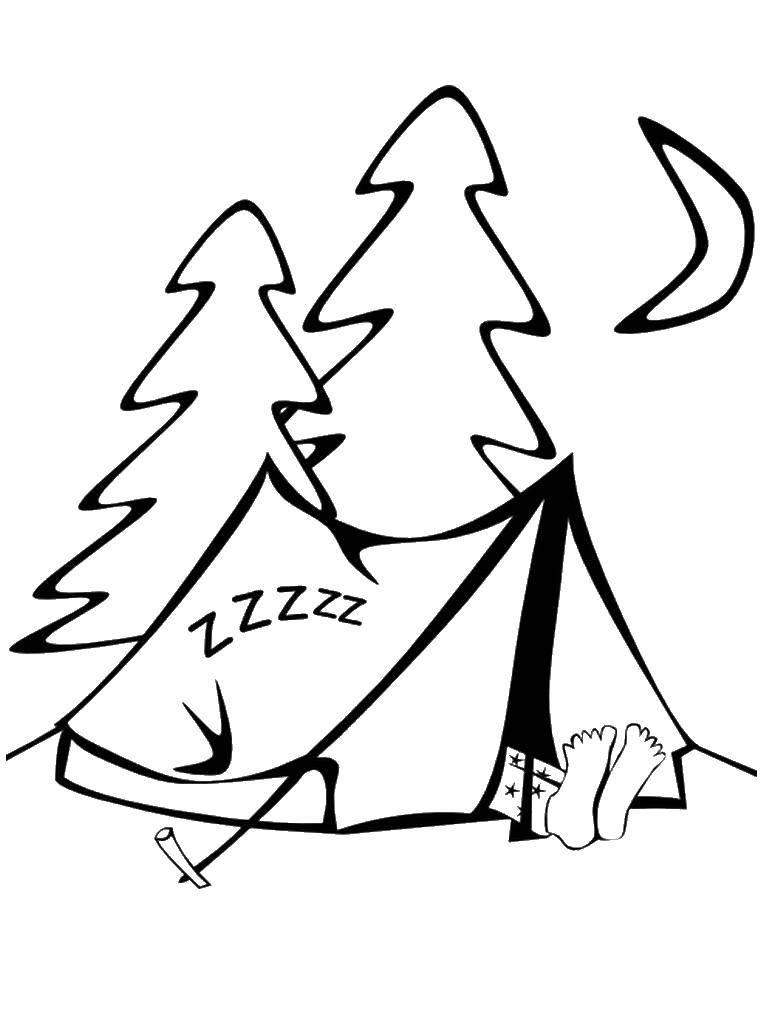 Раскраска Поход, сон в палатке Скачать отдых, природа, поход, палатка.  Распечатать ,Отдых на природе,