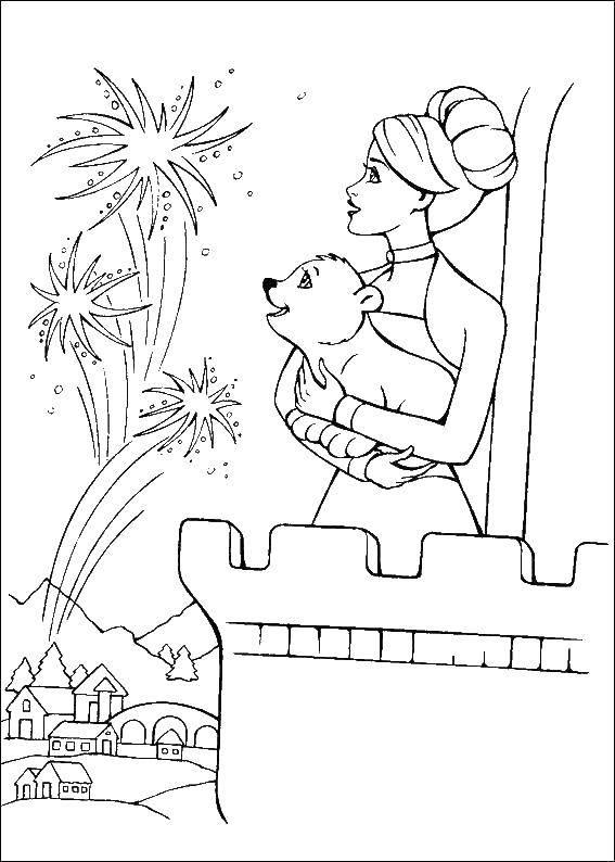 Раскраска Барби с медвежонком смотрят на салюты Скачать Барби, принцесса.  Распечатать ,Барби,
