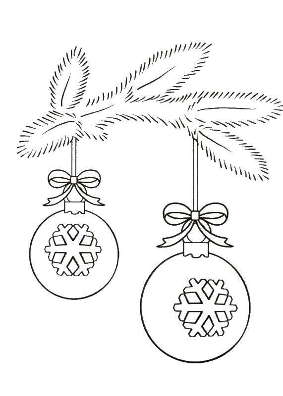 Раскраска Елочные шары Скачать елочные игрушки, елка, шары.  Распечатать ,елочные игрушки,