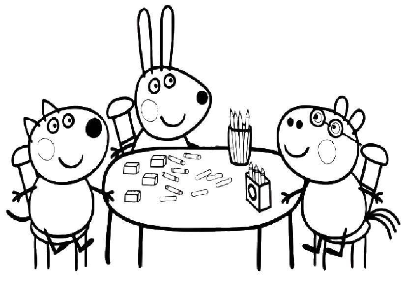 Раскраска Друзья пеппы Скачать Свинка Пеппа.  Распечатать ,Свинка Пеппа,