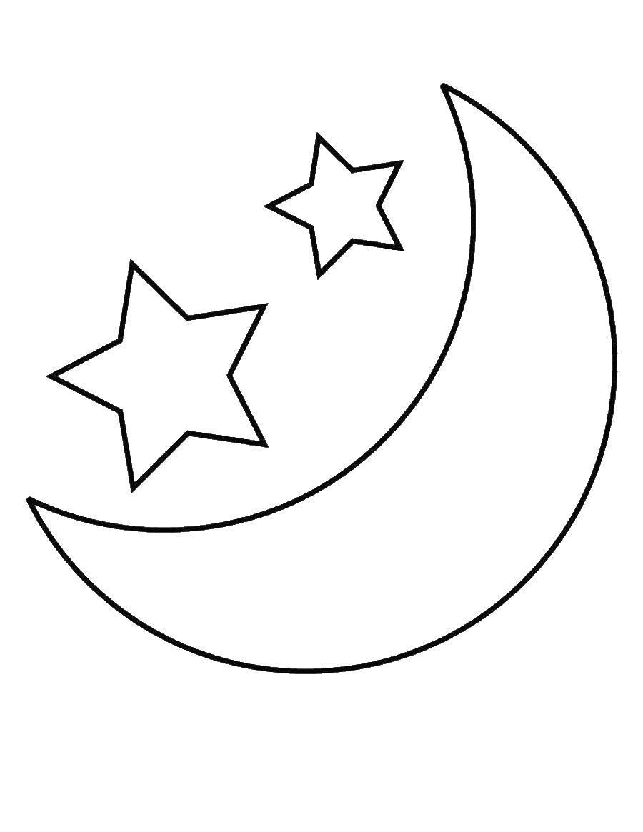 Раскраска Полумесяц и звездочки Скачать ,Звездочки, ночь, небо,.  Распечатать