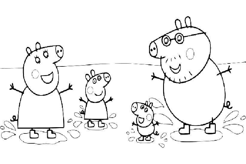 Раскраска Семья свинки пеппы Скачать Свинка Пеппа.  Распечатать ,Свинка Пеппа,