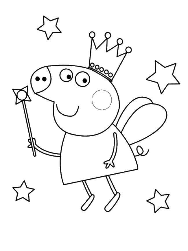 Раскраска Свинка пеппа фея Скачать Свинка Пеппа.  Распечатать ,Свинка Пеппа,