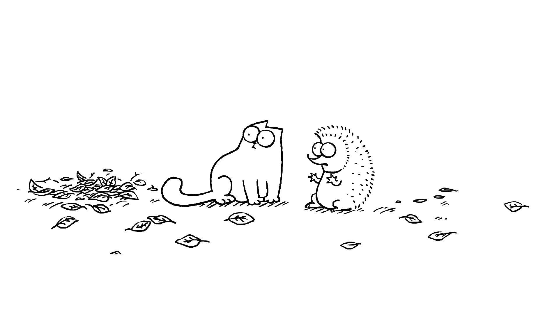 Раскраска Кот саймона и ежик Скачать ,мультфильмы, кот Саймона,.  Распечатать