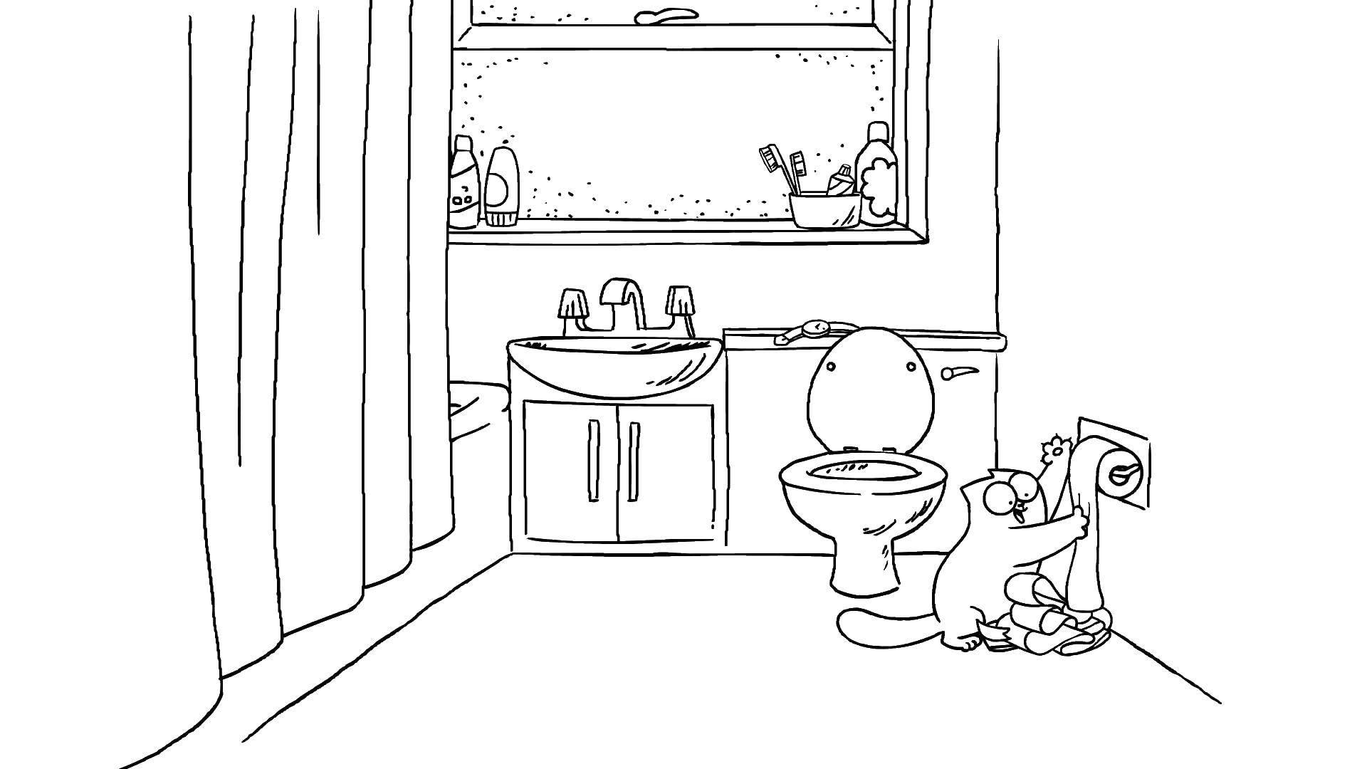 Раскраска Кот играет с туалетной бумагой Скачать ,Птицы, колибри,.  Распечатать
