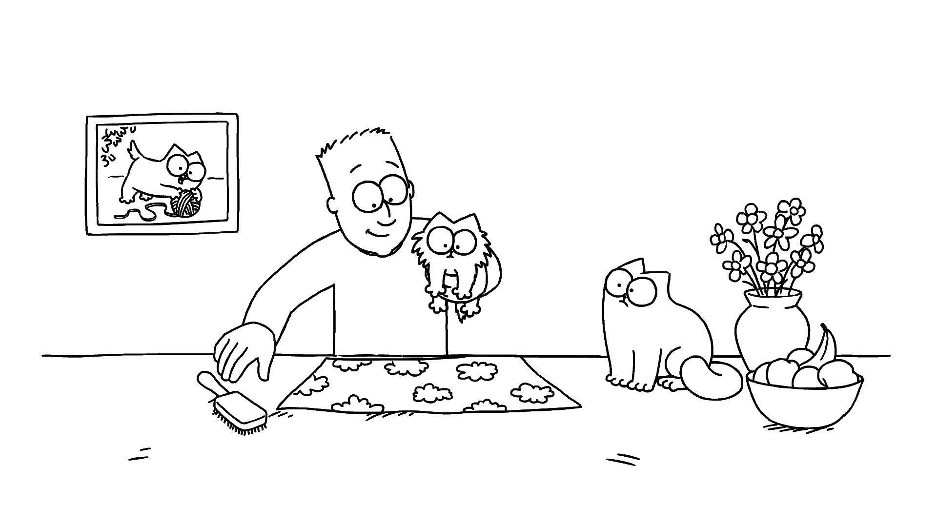 Раскраска кот саймона Скачать 101 далматинец, Дисней, мультфильм.  Распечатать ,101 далматинец,