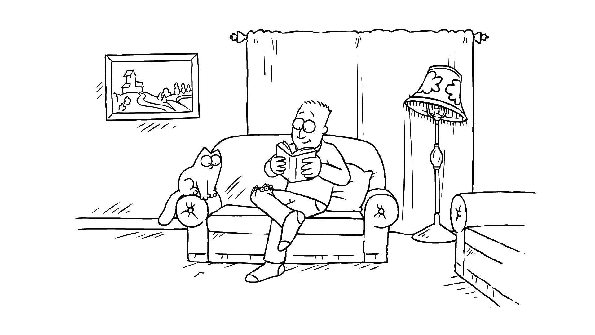 Раскраска кот саймона Скачать Образец, цифры.  Распечатать ,По номерам,