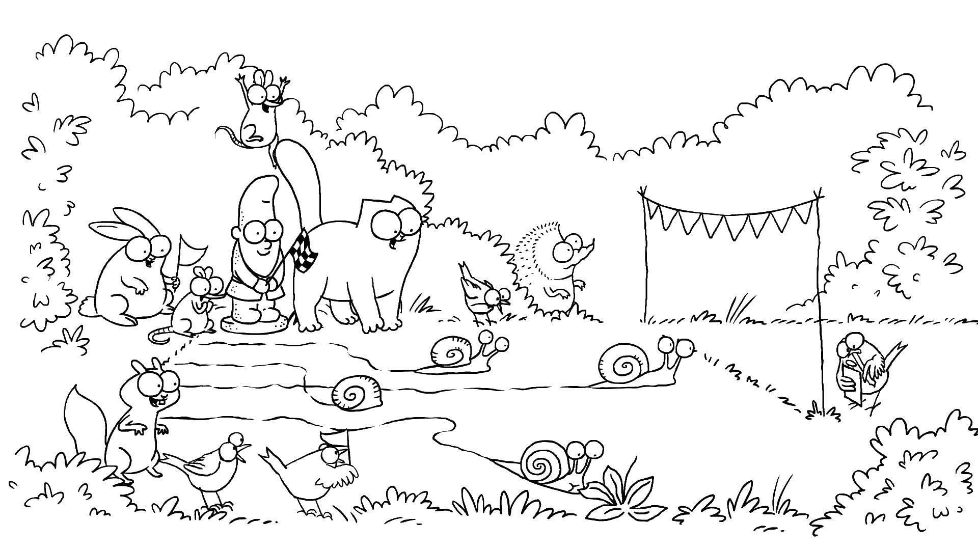 Раскраска кот саймона и другие звери Скачать ,мультфильмы, кот Саймона,.  Распечатать